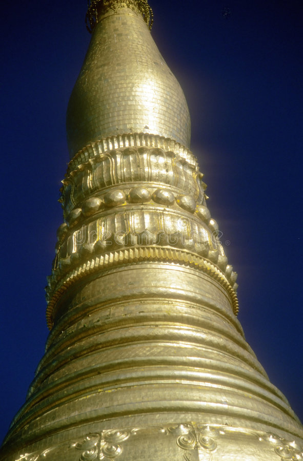 Golden Spires Of Buddhist Stupas In Temple Stock Photo