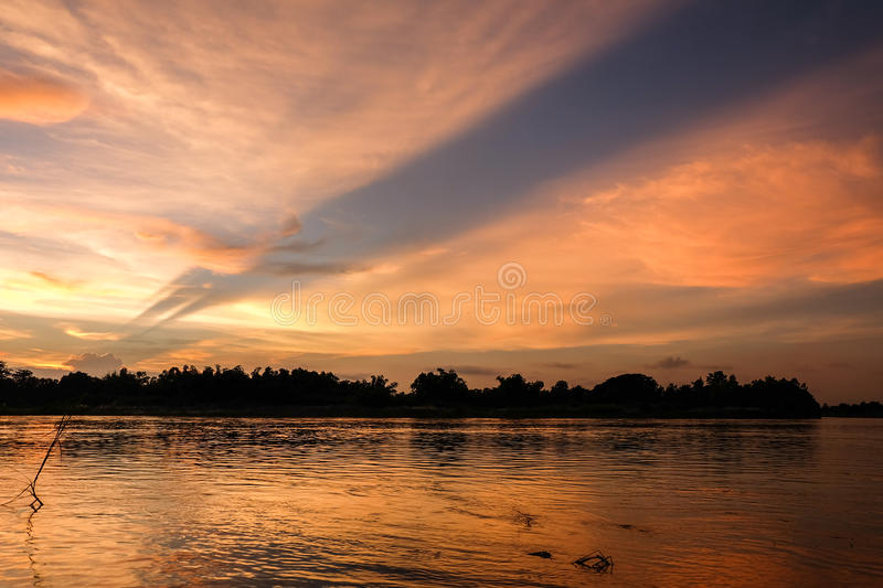 Golden splendor of the river royalty free stock images