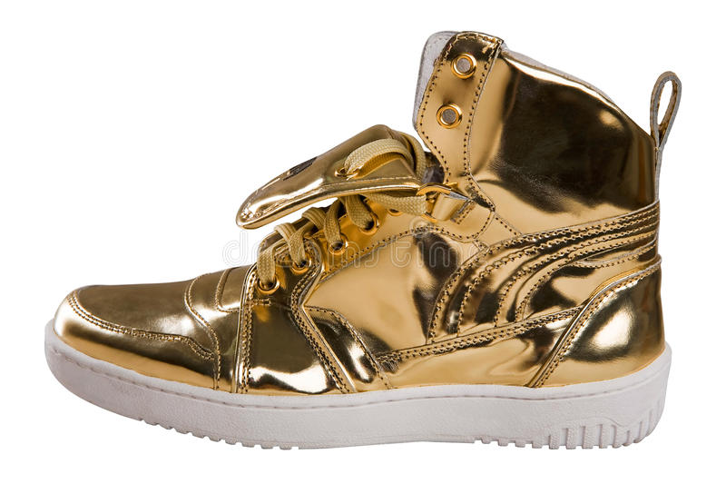 Download Golden Sport Shoes On White Stock Image - Image: 9431105