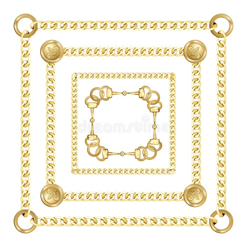 Golden Square Chains Pattern on White Background. Golden squared chains pattern on white background. Fashion luxury gold background with jewelry for textile royalty free illustration