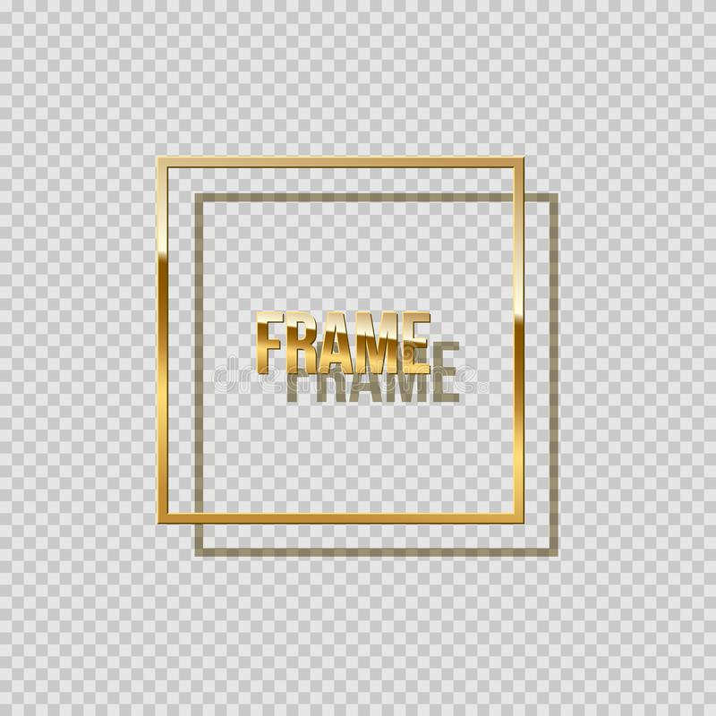 Golden square frame with shadow isolated on transparent background. Vector design element. Golden square frame with shadow isolated on transparent background stock illustration