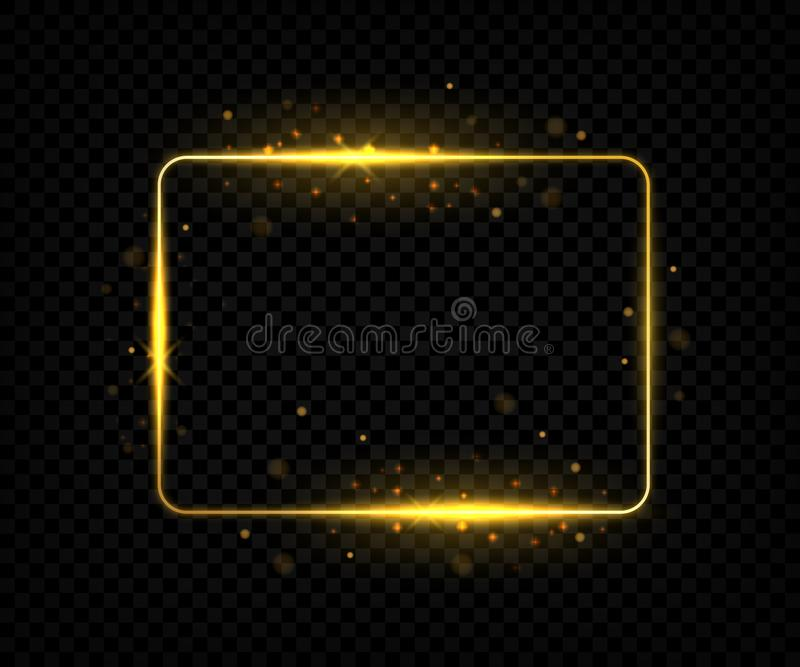 Golden square frame. Shining border lines with flares and sparkles, yellow rectangle shape with glowing effect. Vector. Golden sign on black backgrounds royalty free illustration