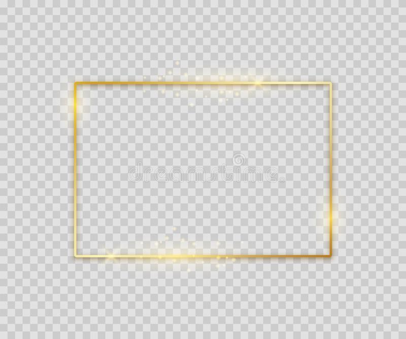 Golden square shape. Shiny luxury border graphic template for banner poster flyer. Vector glowing frame on light stock illustration