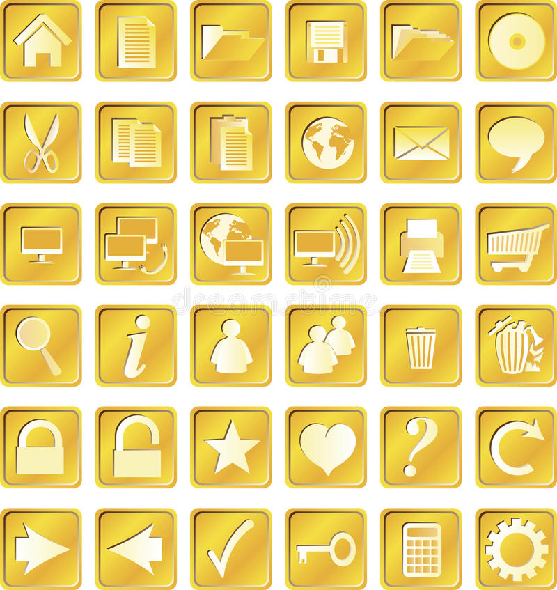 Golden squared icons royalty free illustration