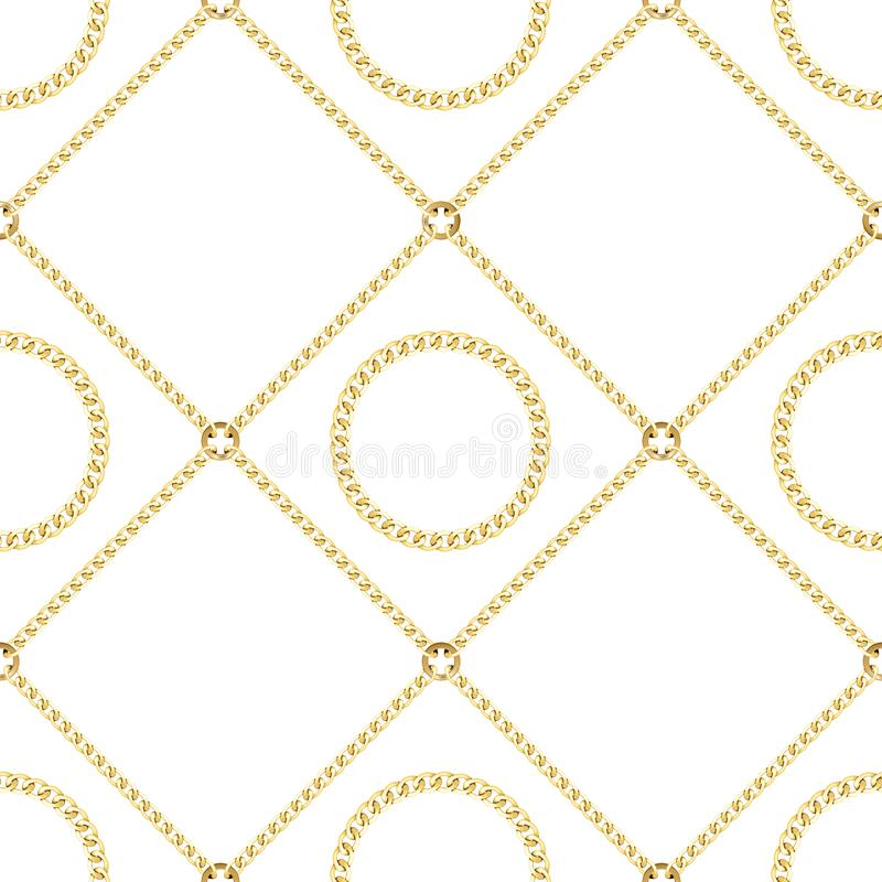 Golden Chains Seamless Pattern on White Background. Golden squared and round chains seamless pattern on white background. Fashion luxury gold repeat background royalty free illustration