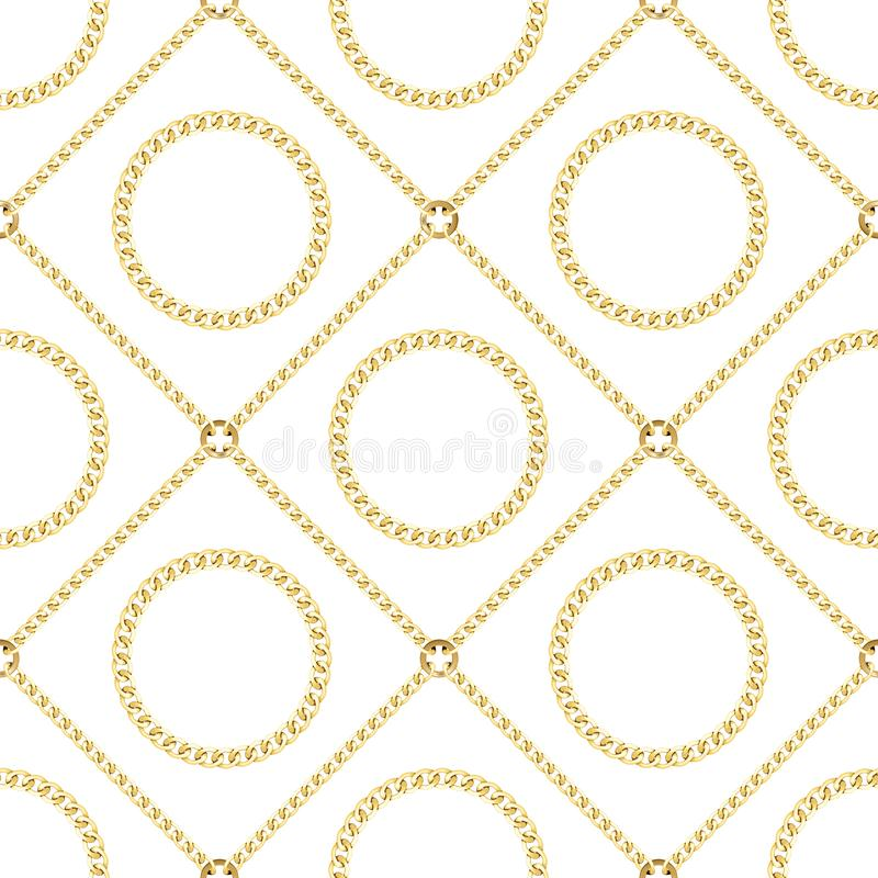 Golden Chains Seamless Pattern on White Background. Golden squared and round chains seamless pattern on white background. Fashion luxury gold repeat background vector illustration