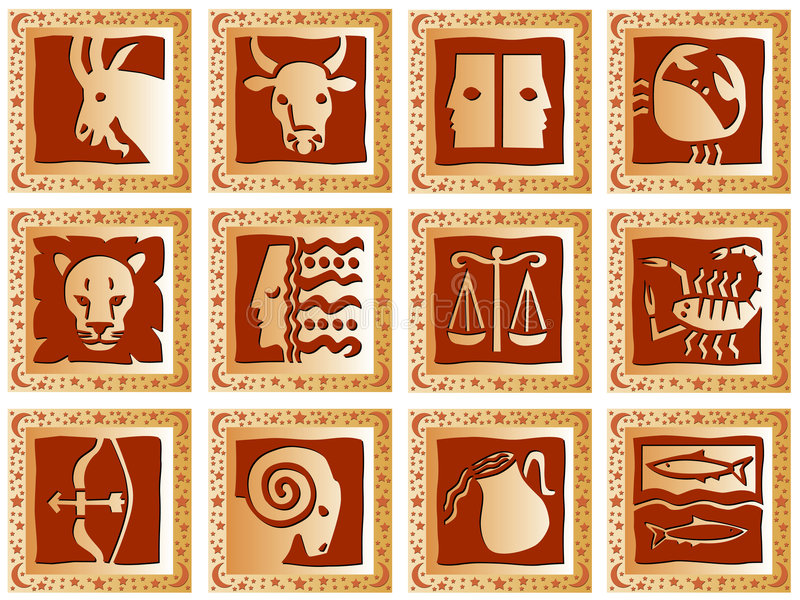Golden squares with signs stock images
