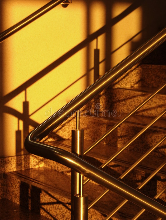 Golden staircase stock photos