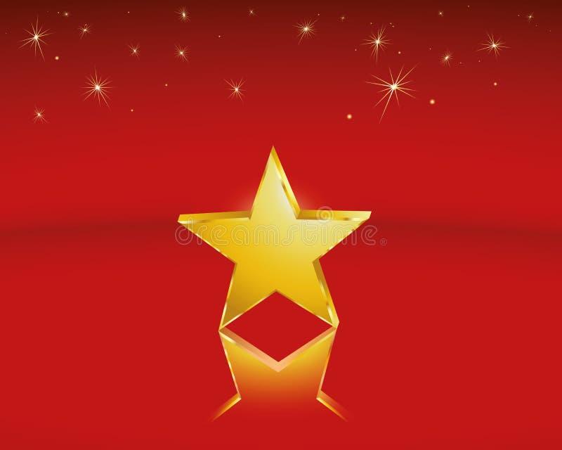 Golden star. One golden star as a Christmas motif or a distinction vector illustration