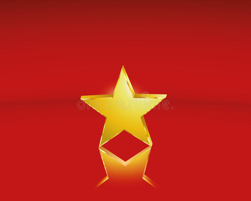 Golden star. One golden star as a Christmas motif or a distinction stock illustration