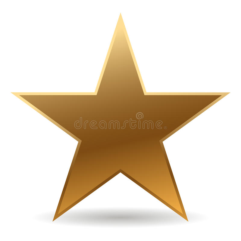 Golden star. Cool golden star with shadow vector illustration