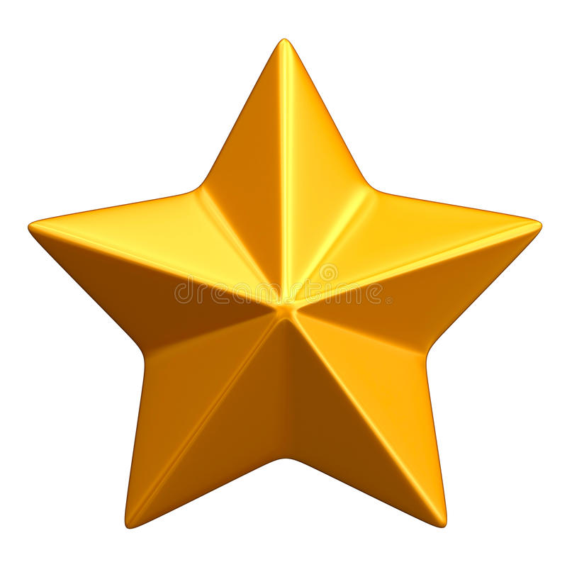 Golden star. Isolated on white background stock illustration