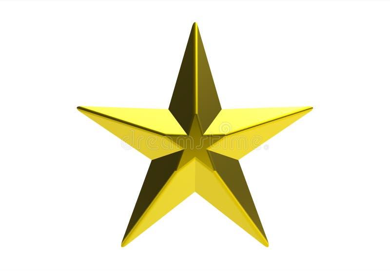 Golden star. Isolated on white, 3d render vector illustration