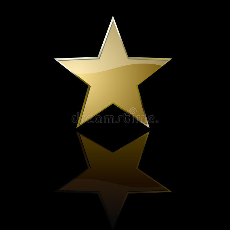 Golden star. Glossy golden star with reflection over black background vector illustration