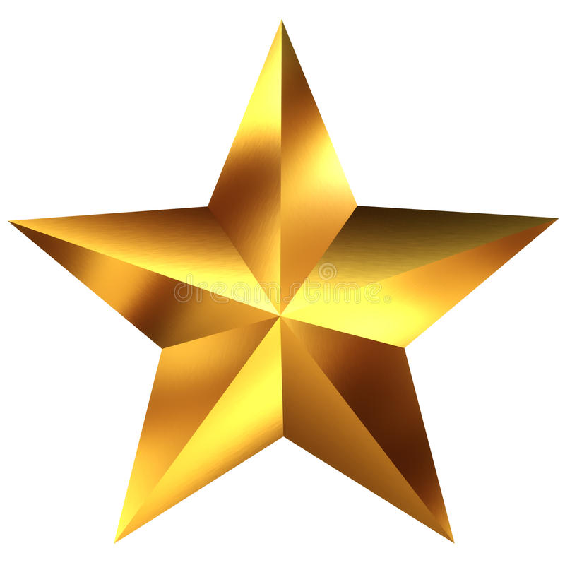 Golden star. Isolated on white royalty free illustration