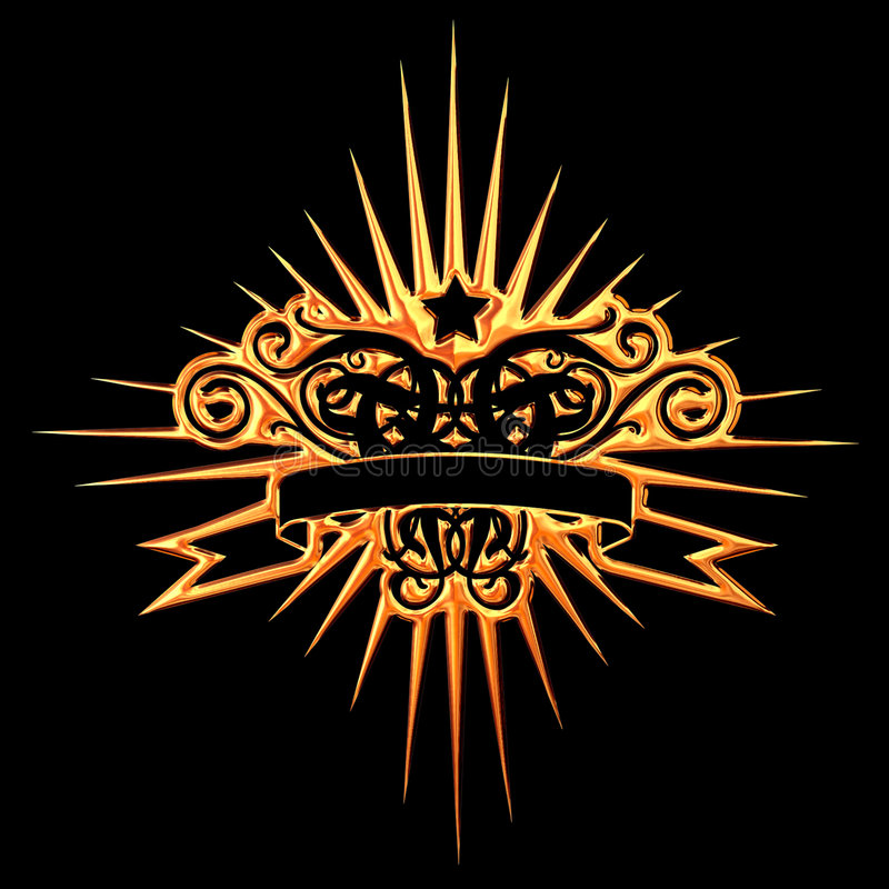 Golden Star. Golden Coat Of Arms With Star vector illustration