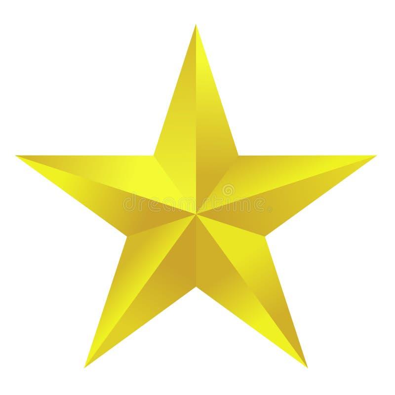 Golden Star. Golden pentagonal star over white background vector illustration