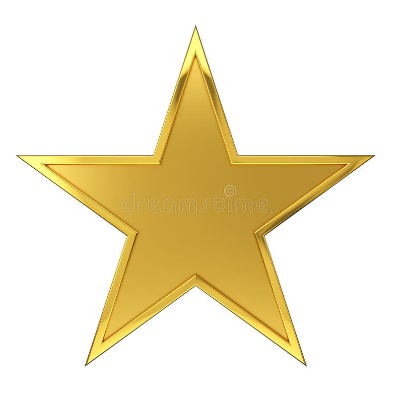 Golden Star Award. Hammered Golden Star Award. Isolated on white background vector illustration