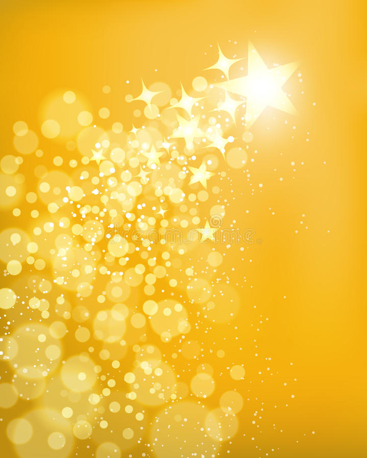 Golden Star Background. A golden shooting star background with bright lights stock illustration
