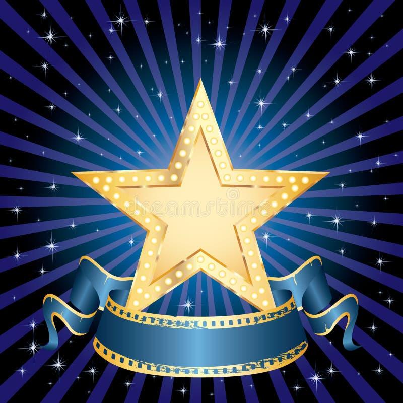 Golden star blue rays. Blank golden movie star in starry night vector illustration