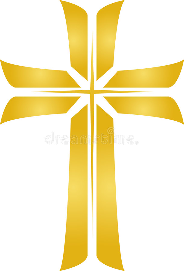 Golden Star Cross/eps. Illustration of a golden cross with a star image