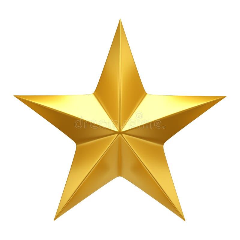 Golden Star - 3d render. Golden Star isolated on white - 3d render vector illustration