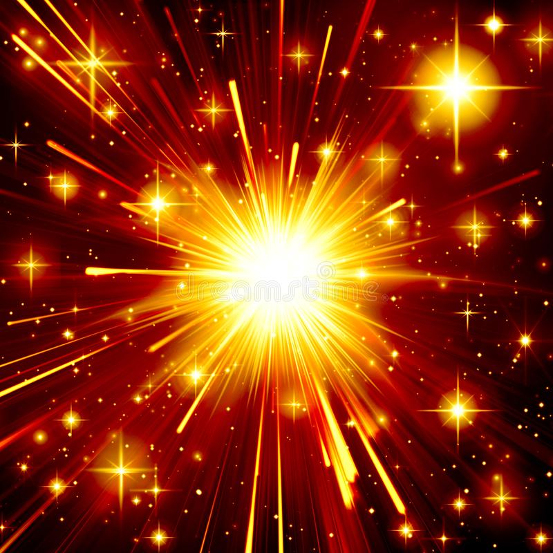 Golden star explosion, bright,light effect, night, black, yellow, orange, design, radiance, flaming, rays stock illustration