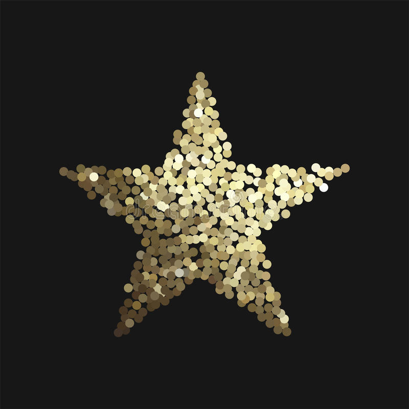 Golden star isolated on black background. Vector illustration with golden glitter star shape for invitations and posters - sparkling metallic element isolated on vector illustration