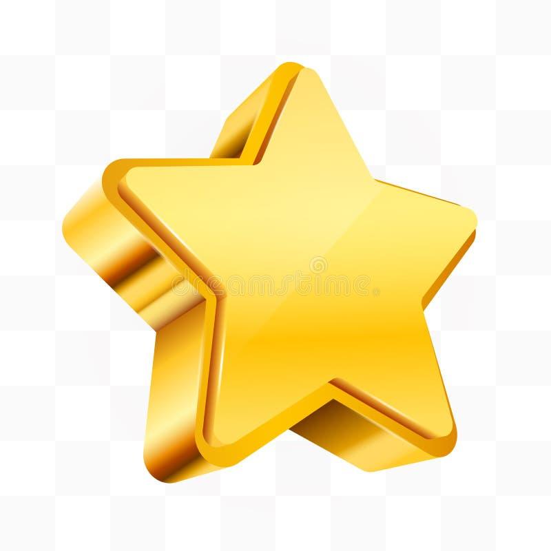 Golden star isolated on transparent Background. Christmas, or award sign. Vector ililustration vector illustration