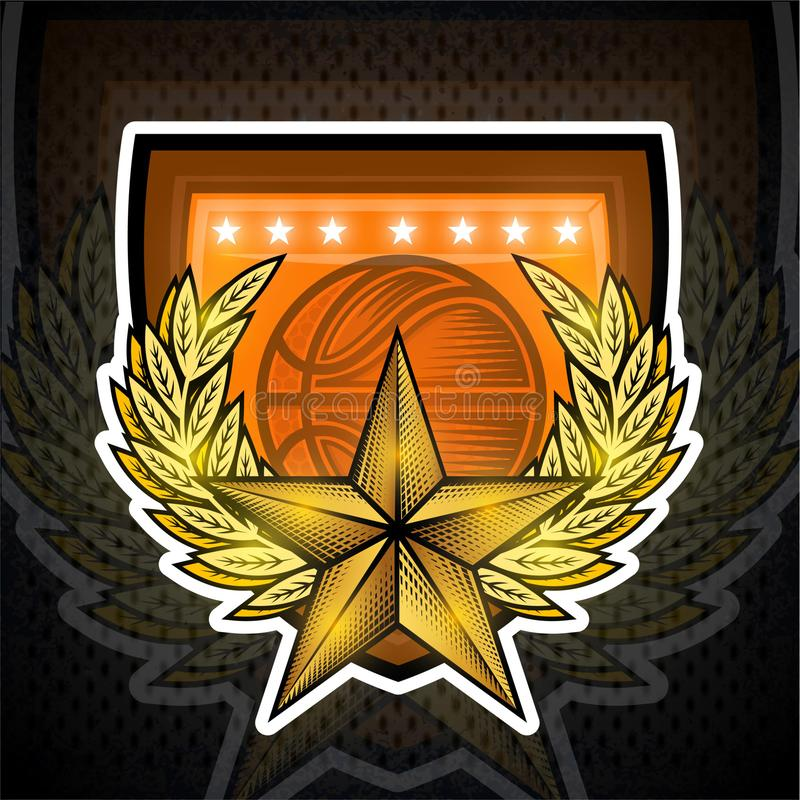 Golden star with laurel wreath in center on shield with basketball ball. Sport logo for any team. Or competition vector illustration