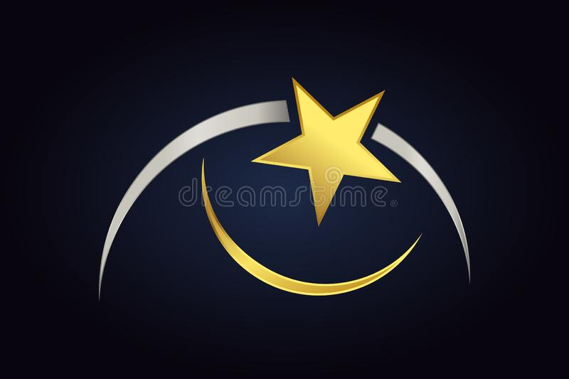 Golden star near two semicircle shapes in gold and silver colors. Abstract shapes isolated on dark background. Golden star near two semicircle shapes in gold vector illustration