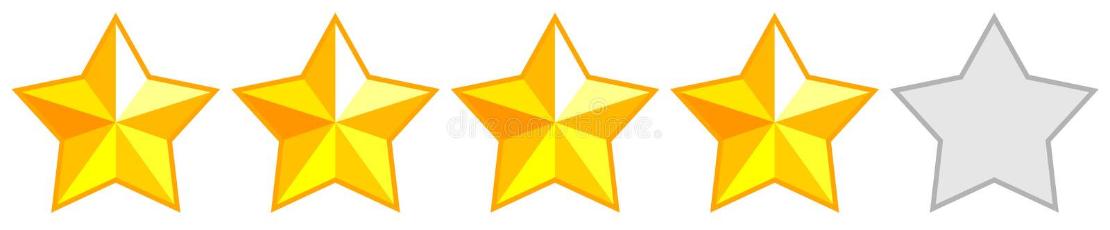 Golden star. Product quality rating. Vector icons. Five star product quality rating. Vector icons royalty free illustration
