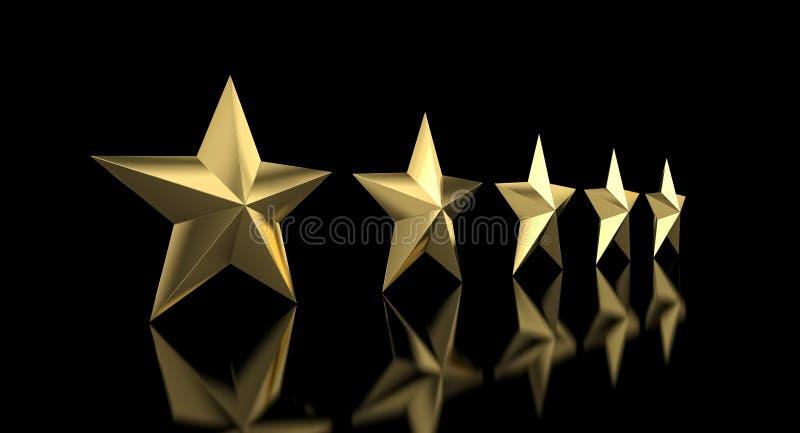 5 golden star. Quality concept 3d rendering image vector illustration