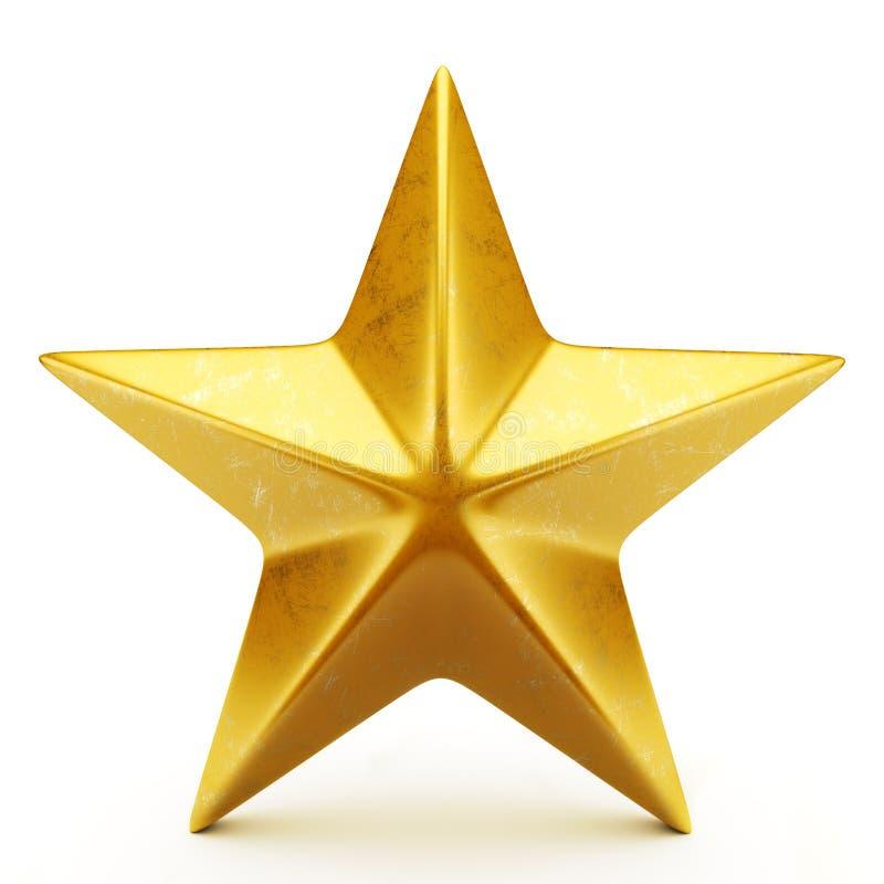 Golden star. Shiny golden star isolated on white vector illustration