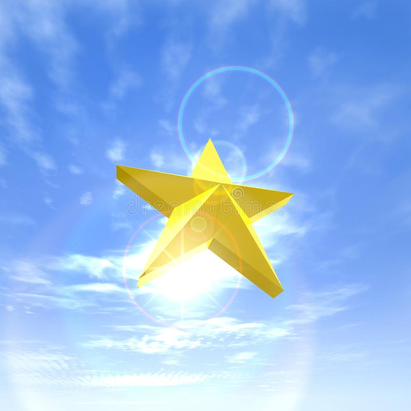Golden star in the sky stock photo