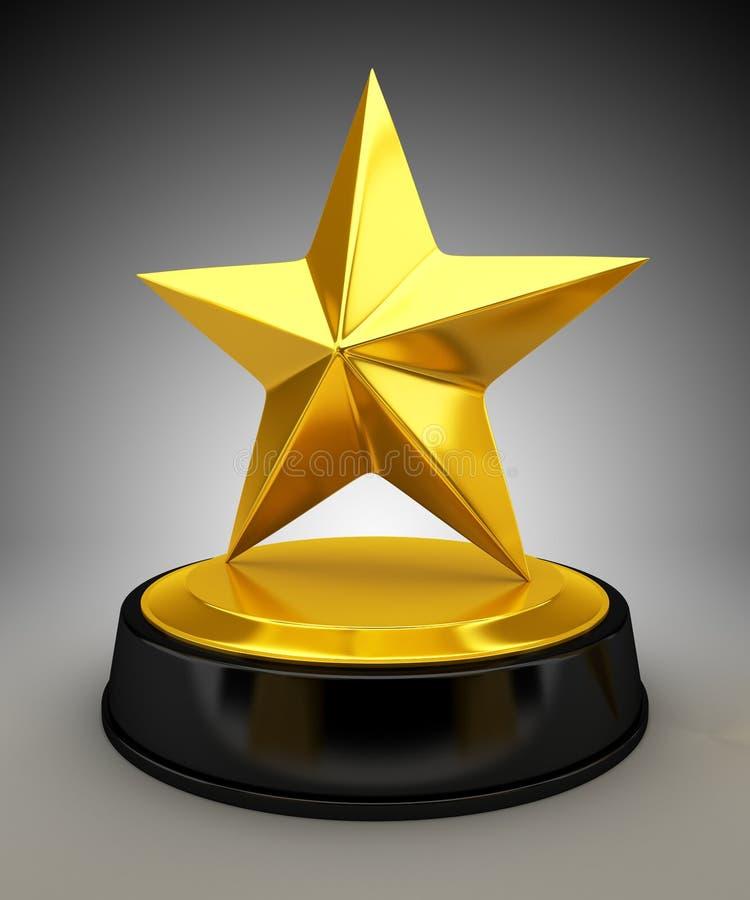 Golden star trophy. 3d render royalty free illustration
