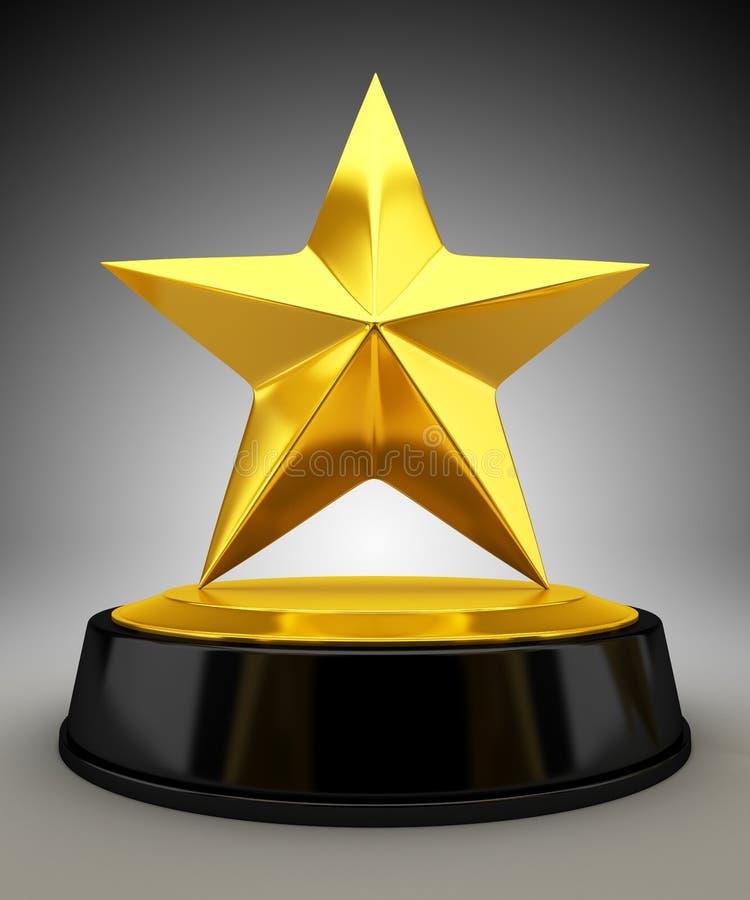 Golden star trophy. 3d render stock illustration