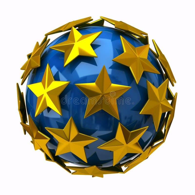 Golden Stars On Blue Sphere Stock Photos