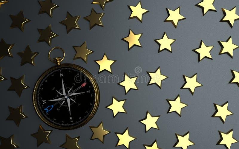Golden Stars Compass stock illustration