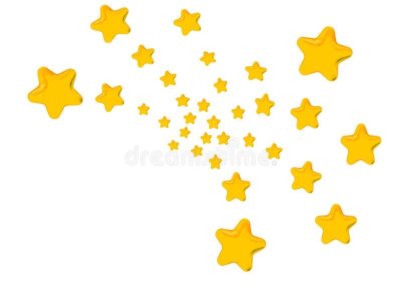 Golden Stars Fireworks Pattern. Golden stars, in the pattern of bursting fireworks, on white background stock illustration