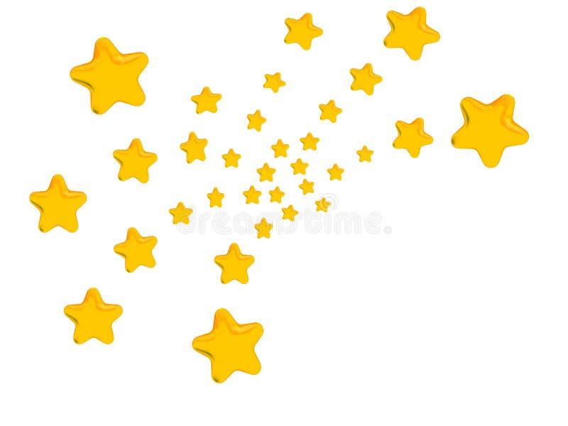 Golden Stars Fireworks Pattern. Golden stars, in the pattern of bursting fireworks, on white background royalty free illustration