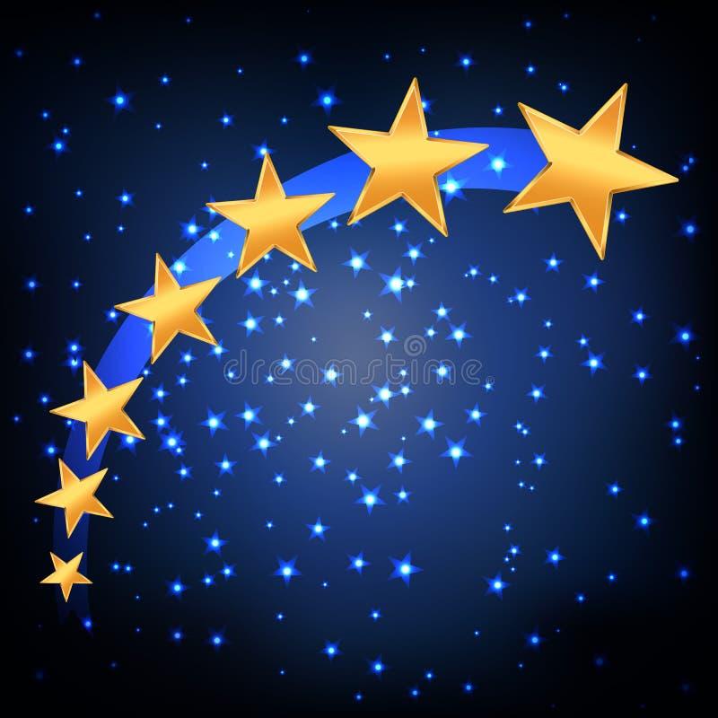 Golden stars flying stock illustration