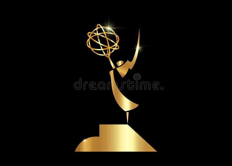 Golden stars prize concept Emmy Award Silhouette statue icon. Films and cinema symbol stock Academy award vector isolated or black vector illustration