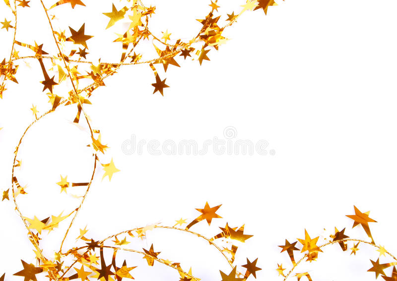 Golden Stars And Spangles As Holiday Background Royalty Free Stock Photography