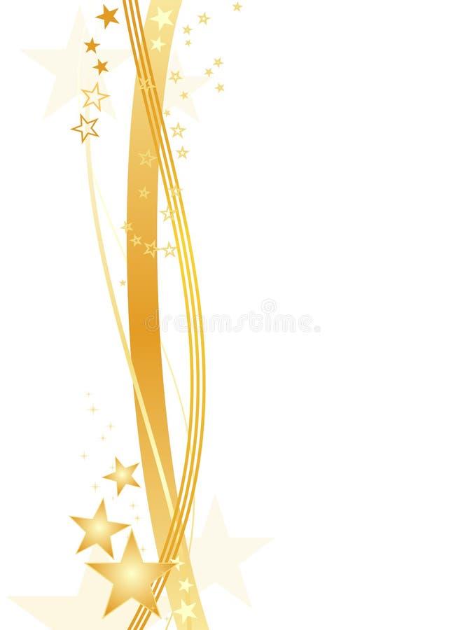 Golden stars on white, border royalty free illustration