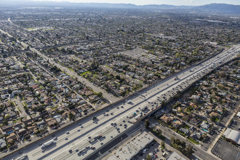 Golden State 5 Freeway in the San Fernando Valley royalty free stock images