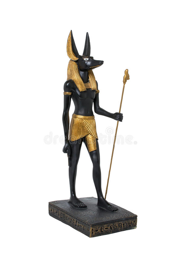 Golden statue of Anubis. Ancient Egyptian statue of Anubis stock image