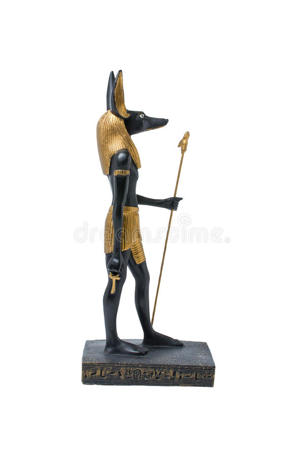 Golden statue of Anubis. Ancient Egyptian statue of Anubis royalty free stock photography