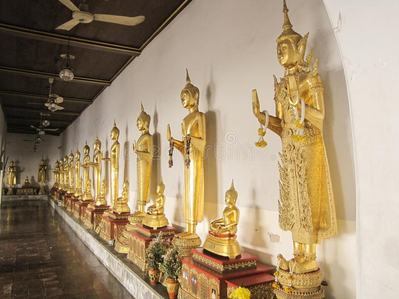 Golden Statue of Buddha in Somanas Rajavoraviharn temple, Bangkok, Thailand stock image