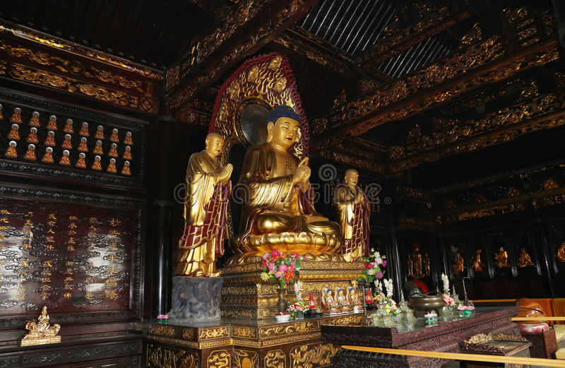 Golden statue of Buddha-- southern Xian (Sian, Xi'an), China royalty free stock photos